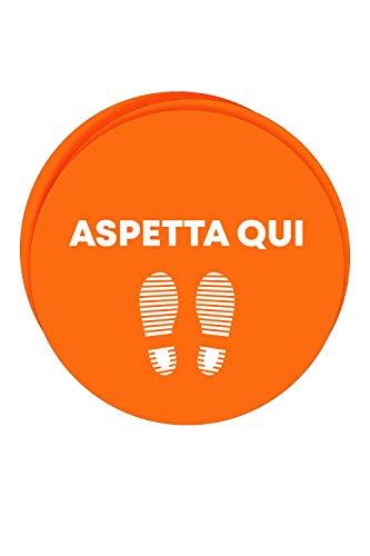 Kit 3 adesivi per pavimento per la sicurezza - Adesivi ASPETTA QUI per la segnaletica da terra (Bollone con Orma Arancione 40x40 cm)