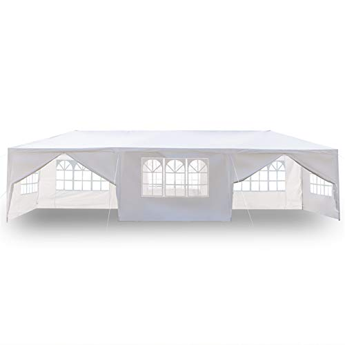 soonwell Large Garden Gazebo Party Tent Party Shelter 3 x 9m Gazebo for Wedding,100% waterproof,Eight Sides Two Doors Waterproof Tent with Spiral Tubes