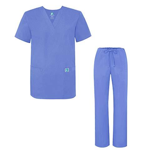 Adar Uniforms Unisex-Schrubb-Set - Medizinische Uniform mit Oberteil und Hose - 701 - Ceil Blue - XL