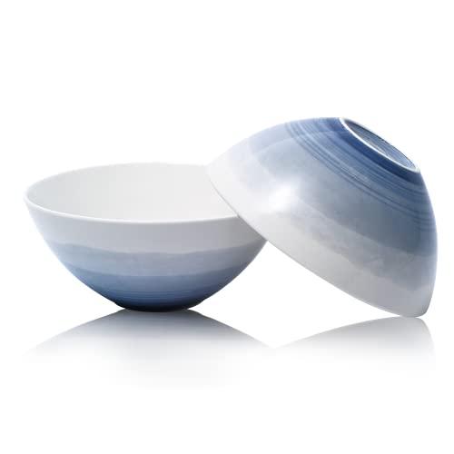 JOCEE HOUSE Salad Bowl Set 2PC 8.75' 62 ounces blue Porcelain Bowls Salad Cereal and Popcorn bowls Deep salad bowls Pasta bowls Large Serving bowls Mixing Bowls Ceramic bowl Deep Soup Bowl