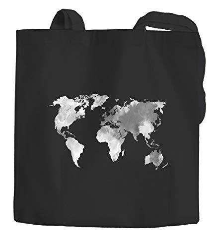 Jutebeutel Weltkarte Wasserfarben Watercolor World Map Baumwolltasche Stoffbeutel Einkaufstasche Autiga® schwarz 2 lange Henkel