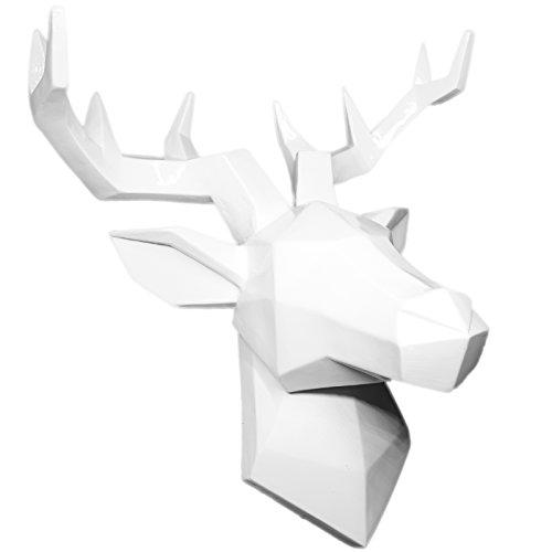 Hansmeier® Hirsch Wandskulptur - Weiß - 42 x 41 cm - Wanddeko Geweih Modern - Hirschkopf 3D Deko Schädel - Robustes Dickes Material