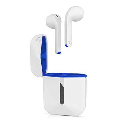 Nanxi Bluetooth 5.0 Auriculares Inalámbricos,Auriculares Bajo estéreo con micrófono con Caja de Carga Portátil Auriculares in Ear Auriculares Sweatproof(Naranja,Azul)