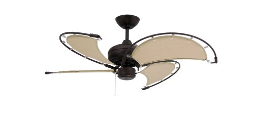TroposAir Voyage Oil Rubbed Bronze Indoor/Outdoor Ceiling Fan with Khaki Fabric Blade