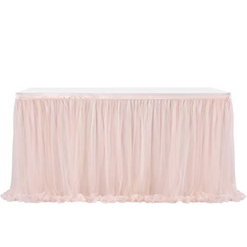 Fashionbeautybuy - Gonna da tavolo in tulle, tovaglia per feste di matrimonio, 1,8 m, 2,7 m, 4,3 m, Champagne, 14ft