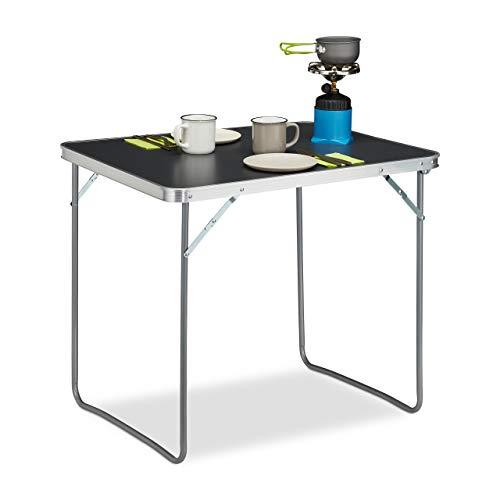 Relaxdays Campingtisch klappbar, Aluminium, MDF, Klapptisch Camping, klein, leicht, HBT: 70 x 80 x 60 cm, Silber/grau