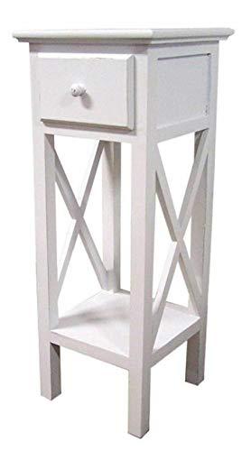 ADHW Landhaus Telefontisch weiß 66cm - Holz Beistelltisch Telefon Konsole Blumentisch