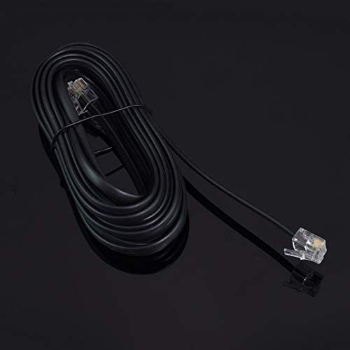 RJ11 6P4C Modular Telephone Extension Cable Phone Cord Line Wire (15 Feet, black)