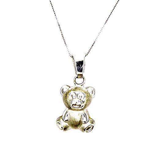 Collana Oro Bianco 18kt (750) Catenina Veneta Pendente Orso Orsetto Grande Donna Ragazza Bambina
