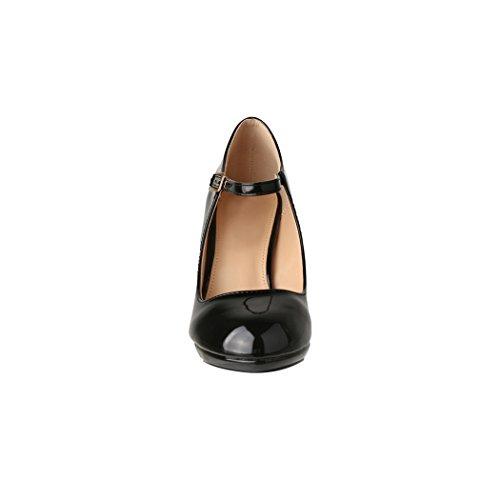 Damen Pumps | Bequeme High Heels Lack-Optik | Vintage-Style | Abendschuh - 4
