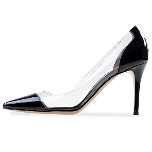 YODEKS Women's Cap Toe Pumps 85mm High Heel Transparent Shoes Stiletto Dress Pumps Black US9.5