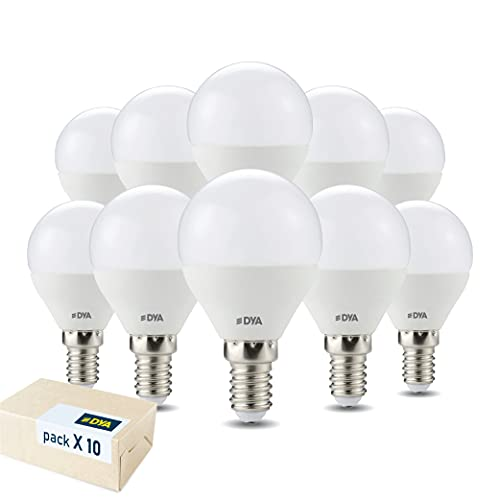 DYA - SET DA 10 LAMPADINE LED SFERA E14-4W EQUIVALENTI A 30W - LUCE CALDA 3000K - 395 LUMEN