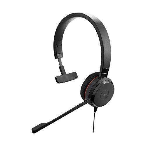 Jabra Evolve 30 MS Mono Headset – Unified Communications Kopfhörer für VoIP Softphone mit passivem Noise-Cancelling – USB-Kabel mit Anrufsteuerung – Schwarz