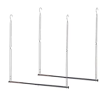 STORAGE MANIAC 2-Pack Hanging Closet Rod Adjustable Width and Height Space-Saving Clothes Hanging Bar Chrome