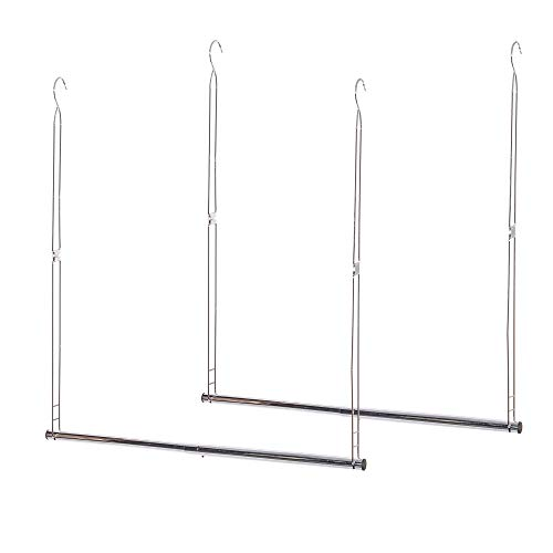 STORAGE MANIAC 2-Pack Hanging Closet Rod, Adjustable Width and Height, Space-Saving Clothes Hanging Bar, Chrome