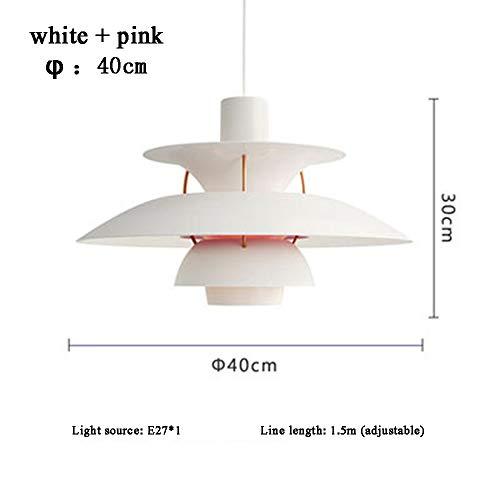 PH5-Kronleuchter im nordischen Stil Dänischer einfacher moderner Aluminium-Kronleuchter Schlafzimmer Restaurant Bar Café-Lounge,white+pink-40cm