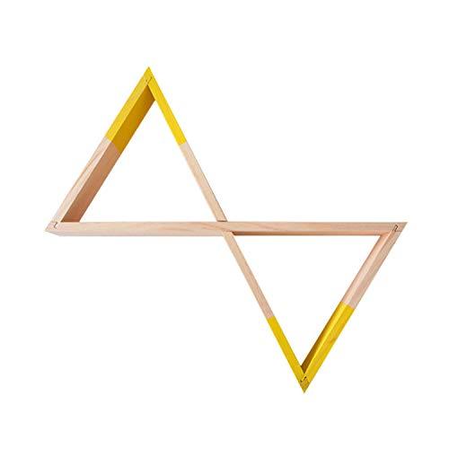 Nacnic Estanteria de Pared Estilo nordico. Estante Triangulos de Madera Unidos. Colores Madera y Amarillo. Estante habitacion Infantil, Salon, Bebe. Almacenamiento estanteria Triangular de Madera.