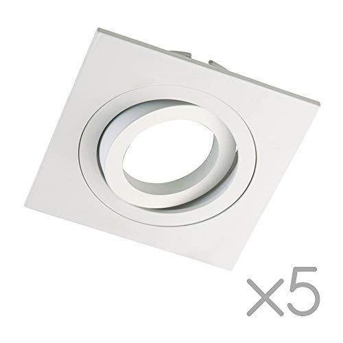 Wonderlamp Clasic W-E0 Foco empotrable Cuadrado, Blanco, 5 UNIDADES, 5