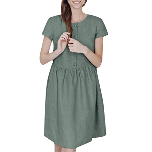 Great Features Of Outique Women Dress Casual Solid Loose Button Knee-Length Short Sleeve O Neck Ladi...