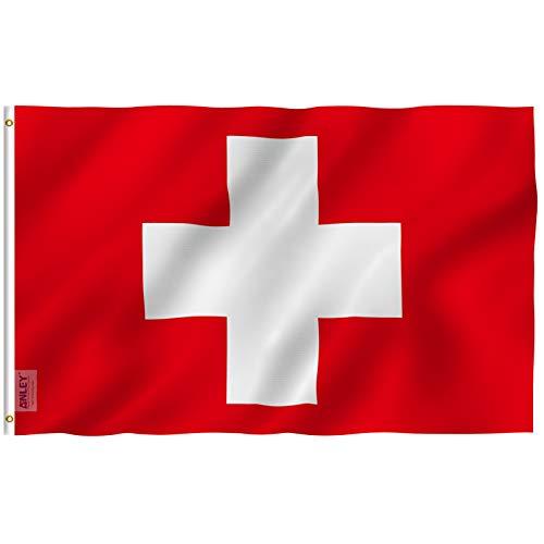 ANLEY Fly Breeze 3x5 Foot (90x150 cm) Zwitserland Vlag - Levendige Kleur en UV Vervagend - Canvas Kop en Dubbel Gestikt - Zwitserse Vlaggen Polyester met Messing Doorvoertules 3 X 5 Ft