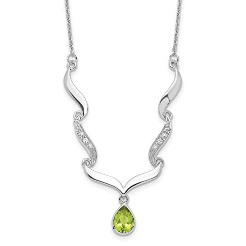Ryan Jonathan Fine Jewelry Sterling Silver with Peridot and White Topaz Necklace, 16' +2' Extender