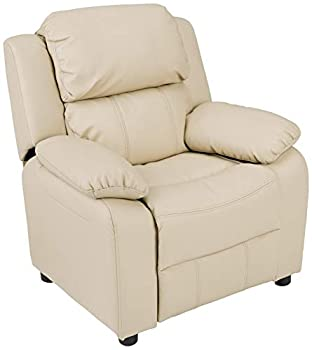 Amazon Basics Faux Leather Kids/Youth Recliner with Armrest Storage 3+ Age Group Beige