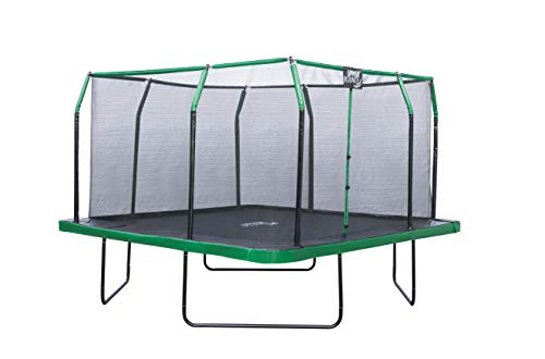 Upper Bounce 16 x 16 FT Square Trampoline Set with Premium Top-Ring Enclosure and Safety Pad – Outdoor Trampoline for Kids | Supports Upto 500 lbs. – Black/Green