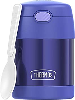 THERMOS FUNTAINER 10 Ounce Stainless Steel Vacuum Insulated Kids Food Jar with Folding Spoon Purple