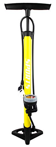 EM BIKE Bomba Inflador de Suelo Portátil con Manómetro Profesional para Válvulas Presta y Schrader Alta Presión (160 PSI  11 Bar) (Naranja o Azul)