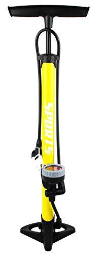 EM BIKE Bomba Inflador de Suelo Portátil con Manómetro Profesional para Válvulas Presta y Schrader Alta Presión (160 PSI/ 11 Bar) (Amarillo o Azul)