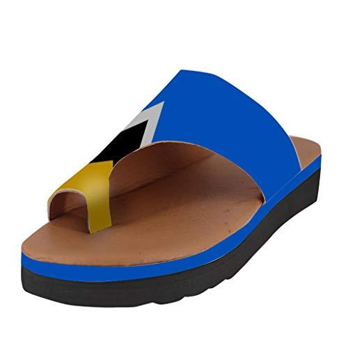 LuckyGirls Chanclas para Mujer Pisos Cuñas Punta Abierta Zapatos de Playa Casuales Zapatillas Romanas Sandalias