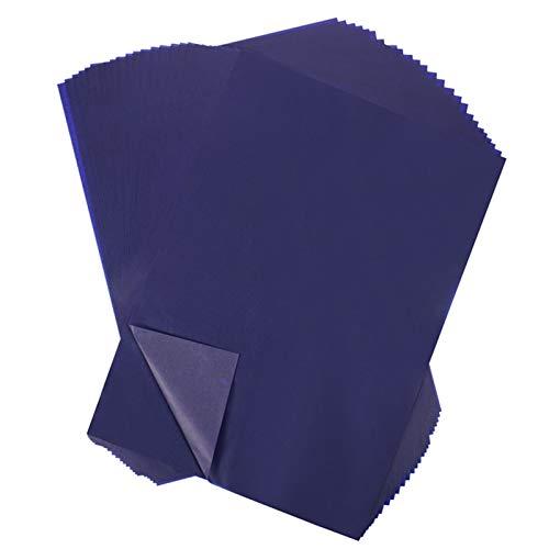 Gitua 100 Blatt Kohlepapier, A4 Blau Pauspapier DIY Handwerk Transferpapier für Holz Papier Segeltuch Glas Keramik und Andere Oberflächen