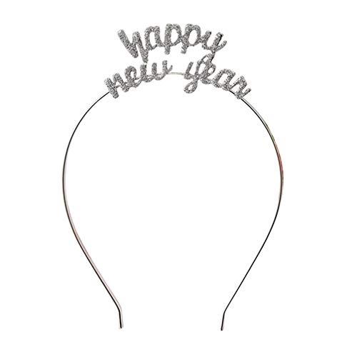 Lurrose Diadema de Año Nuevo con purpurina para fiesta de Año Nuevo 2021 Año Nuevo, color plateado