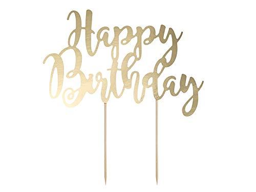 DaLoKu Cake Topper Kuchendekoration Tortenfigur Hochzeit Geburtstag Silvester, Größe: Happy Birthday Gold