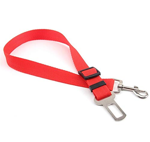 ASDFGT-778 4 Farbe Haustier Hund Katze autositz gürtel einstellbar Harness sachgürtel Leine Leine für kleine mittelhunde Reisen Clip pet liefert (Color : Red)