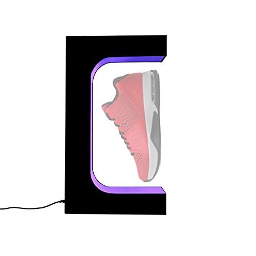 EnweKapu Estanterías Zapatos, Levitacion Magnetica Flotante Zapatos, Expositor De Zapatos con Control Remoto 7 Luces de Colores, Rotación 360° para Exhibición Centro Comercial,Negro
