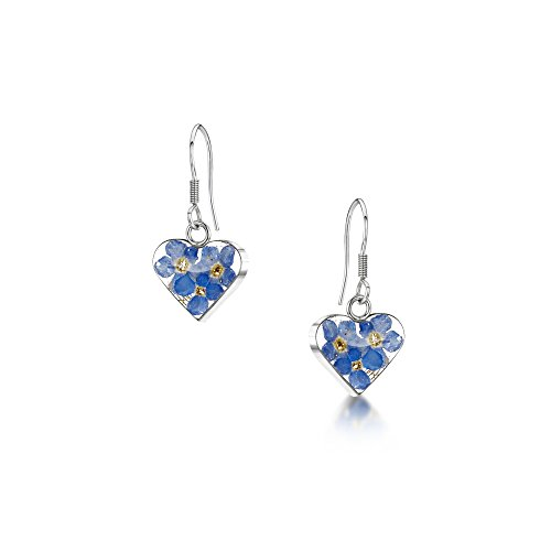 Silver drop Earrings made with real forget-me-nots - Hearts - Includes giftbox