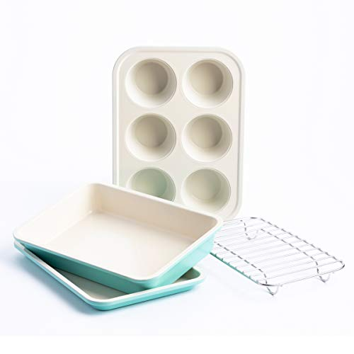 GreenLife Healthy Ceramic Nonstick Toaster Oven Bakeware Set, 4 Piece, turquoise