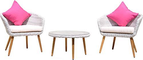 Au jardin de Chloé | Salon de Jardin Balcon Petit terrasse résine tressée Victorine | Ensemble 2 fauteuils 1 Table Basse