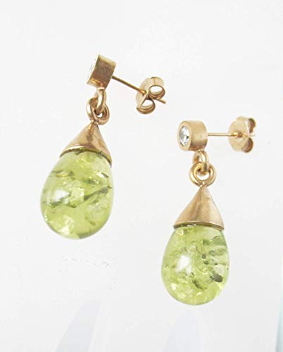 Grüne Bernstein-Ohrhänger, 24karätig vergoldet
