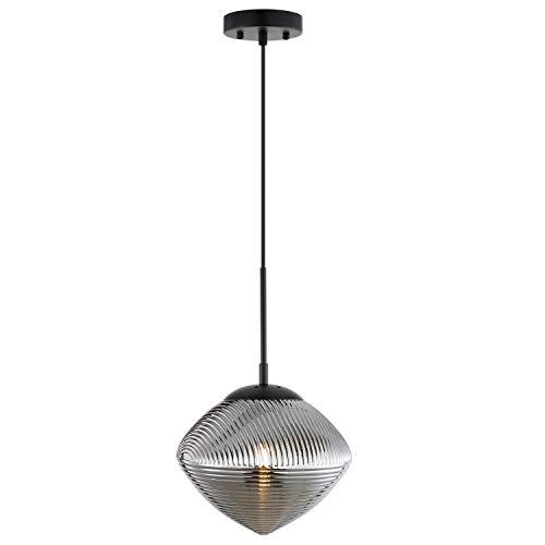 Light Society LS-C333-BK-SMK Cumbria Pendant Light, Black/Smokey
