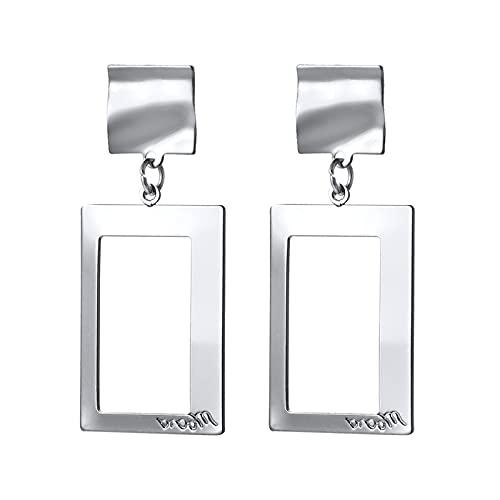 1 pieza de piercing para orejas para niñas irregulares cuadrados colgantes de metal Cool Girls Stud Pendientes