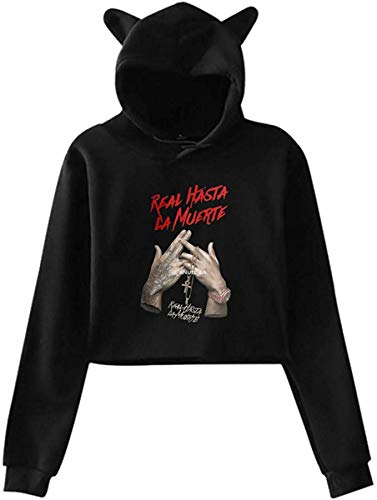 engzhoushi Sudadera con Capucha Mujer, Girl'S Anuel AA Real hasta La Muerte Cat Ear Hoodie Sweater