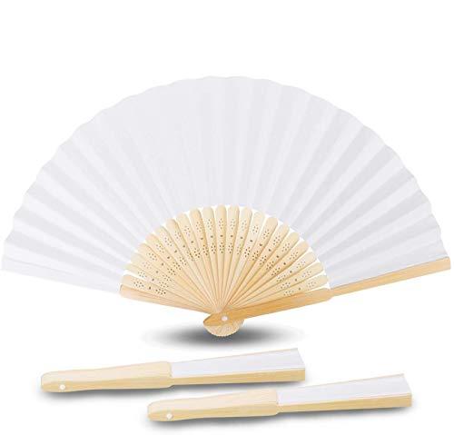 Abanicos de Bambú, Samione Abanicos Blancos Plegables de Papel con Bolsa Portátil Regalo para Boda/Fiesta/Bricolaje/Decoración Ambiental (10PCS)