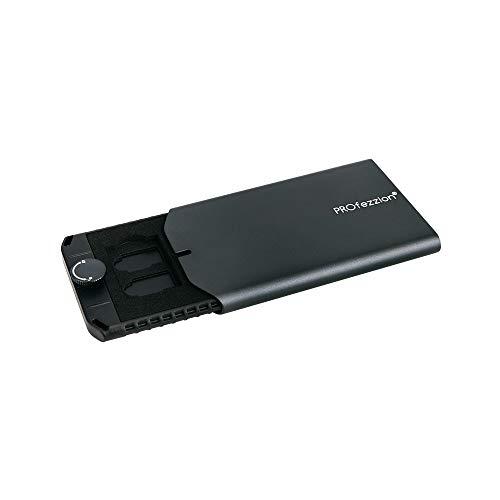 PROfezzion - Custodia per schede di memoria in alluminio, 9 scomparti interni in EVA per interruttore schede NS e schede Micro SD TF (verde nerastro)