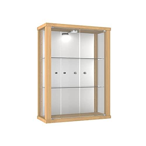 K-Möbel Vitrina Mueble de Pared 80x60x25 cm Haya con 2 estantes de Vidrio, Espejo y iluminación LED