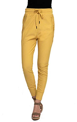 Zhrill Damen Joggpant Stoffhose Anzugshose Tapered Cropped Slim Fit Fabia, Größe:XL, Farbe:N508 - Mustard