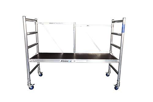 Andamio Plegable Profesional de Aluminio Basic-X 3 Metros Altura, Fácil de Transportar, para Interiores y Exteriores, Andamio Homologado