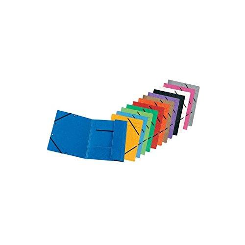Original Falken 10er Pack Premium Einschlagmappe. Made in Germany. Aus extra starkem Colorspan-Karton mit 3 Innenklappen DIN A4 mit 2 Gummizügen farbig sortiert Sammelmappe Dokumentenmappe