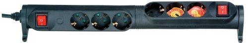 Vivanco 3-voudige stekkerdoos met 2 aparte schakelrijen, 90 graden draaibaar, kinderbeveiliging, TÜV en GS getest, wandmontage mogelijk, zwart